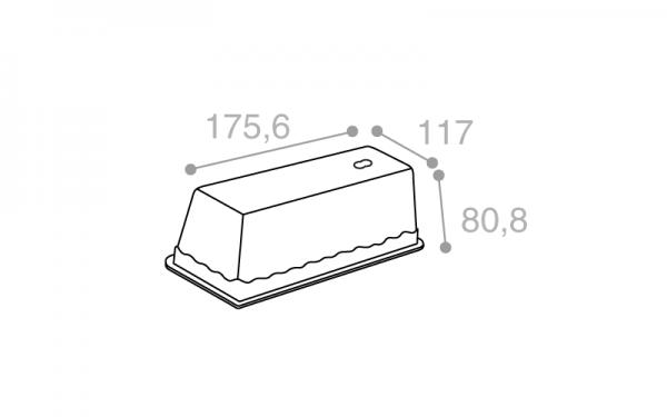 Schéma Terrine lingot operculable transparente 1000 cm3
