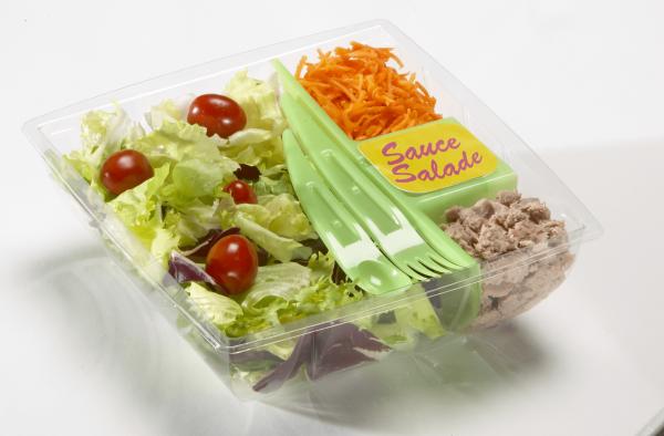 Ensemble salade barquette thermoformée + cloison et couverts injecté