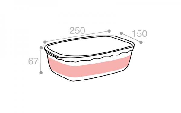 Schéma Terrine crème tachetée avec poignées 1800 cm3
